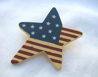 Star shaped hand painted red white blue wood pin brooch