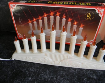 Vintage Christmas lights midget lighting candolier 10 lite plug in candle lights holiday home decor