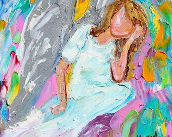 Original oil painting Angel - The Thinker - 6x6 palette knife impressionism on canvas fine art by Karen Tarlton