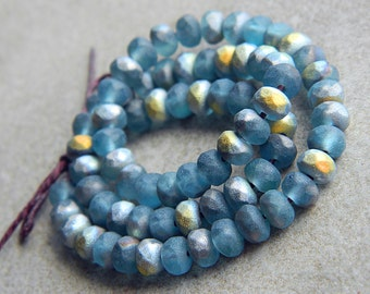 Matte Czech Rondelle Beads, Fire Polished beads, facetted glass donut beads, 3X5mm Matte Blue & Marea (100pcs) NEW