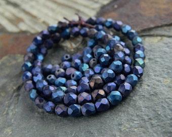 4mm Matte Iris Blue Czech glass beads, Fire polished beads, facetted round beads (100pcs) NEW