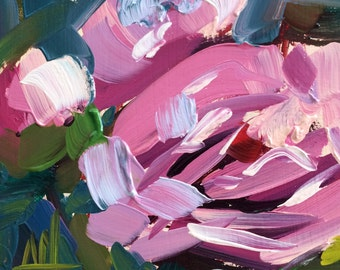 Pink Peonies no. 29 Original Floral Oil Painting by  Angela Moulton 5 x 5 inch on Birch Plywood Panel pre-order