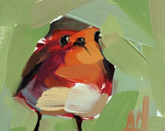 Robin no. 122 original bird oil painting by Angela Moulton 4 x 4 inch on birch plywood panel  pre-order