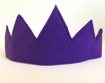 Children's Purple Felt Crown - Handmade, Dress Up, Costume, King, Queen, Prince, Princess, Superhero