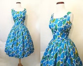Lovely 1950's Silk Floral Print Dead Stock Sundress Union Made w/ Original Tags Still Attached New Look Rockabilly VLV Pinup Size-Medium