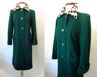 Awesome 1940's Forest Green Virgin Wool Coat with Leopard Print Fur Collar Old Hollywood Glamor Starlet Rockabilly VLV Pinup Size-Medium