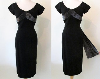 Va Va Voom 1950's Hourglass Black Cocktail Party Dress with Shelf Bust and Lurex Trim Rockabilly VLV Pinup Girl Vixen Curvy Size-Medium
