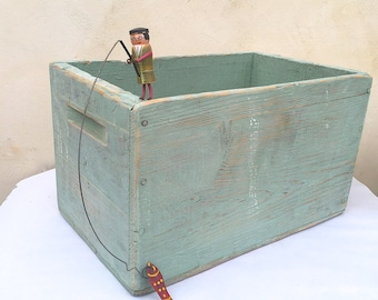 Old Painted Wood Pine Box Cottage Chic