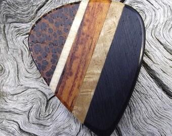 Handmade Multi-Wood Premium Guitar Pick - Actual Pick Shown - Artisan Guitar Pick - 5 Different Woods - No Stock Photos