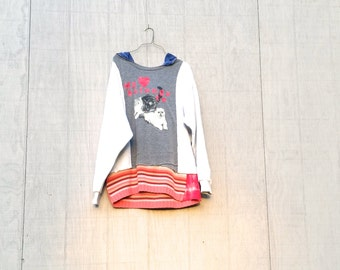 funky fall cat tunic hoodie upcycled pink gray sweatshirt sporty Patchwork women ladies woman Dress Eco Dress / Artsy Dress by CreoleSha