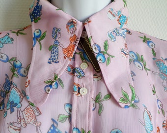 SALE Jeff Banks London 70s pink blouse with country maiden design