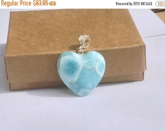 ON SALE Larimar Jewelry Larimar heart pendant sky Blue Larimar heart blue jewelry