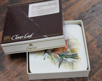 Vintage Hummingbird Coasters set of 4 1987 Cloverleaf The Arents Collection New York Public Library Metropolitan Museum of Art Coasters
