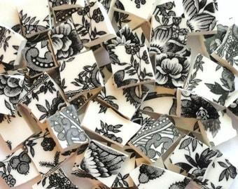 140 Vintage Black and White Transferware Mosaic Tiles/ Vintage Broken Dish Tiles// Vintage Mosaic Tiles