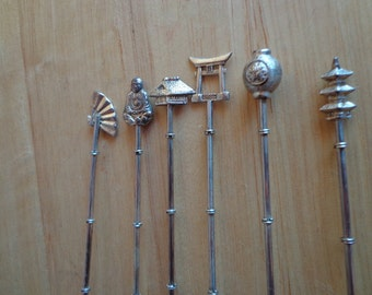 Vintage Sterling Ice Tea Spoons with Asian Motif