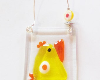 Yellow Bird of Happiness // Fused Glass Suncatcher // Ornament // Finch // Small // Cute // Get Well // Cheerful // Fused Glass Bird//Canary