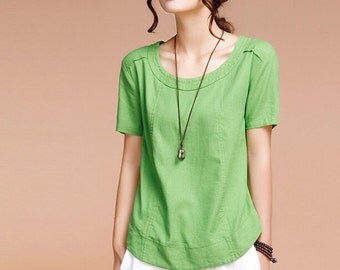 Casual Linen Blouse Short Sleeve Shirt(more colour and size choice)