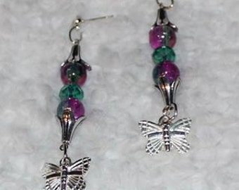 Butterfly Dangle Earrings in Fusia and Teal