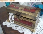 Valentines SALE Vintage Musical Jewelry Box, Treasure Chest, Red and Gold, Japan, Plays The Shadow of Your Smile