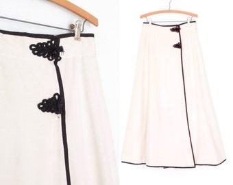 70s Maxi Skirt * 1970s Silk Skirt * Vintage Wrap Skirt * Large