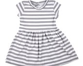 Alice play dress in grey and white stripe, girls dress, girl dress, baby dress, baby girl dress, striped dress