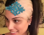 ON SALE Flapper Feather Headpiece, Flapper Headband, Feather Headband, Rhinestone Headband