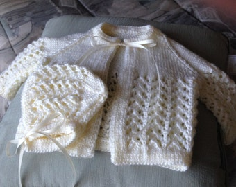 Newborn Baby Sweater & Hat Set