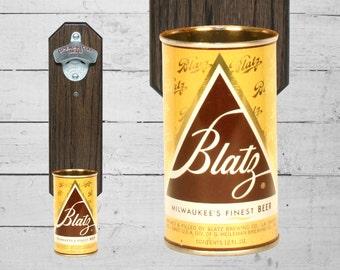 Blatz Wall Mounted Bottle Opener with Vintage Beer Can Cap Catcher