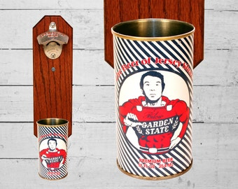 Jersey Shore Garden State Wall Mounted Bottle Opener with Vintage Bilow New Jersey Beer Can Cap Catcher - Secret Santa Gift for Guys GTL
