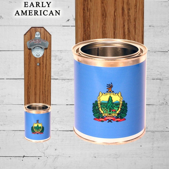 Vermont Wall Mounted Bottle Opener With State Flag Bottle Cap
