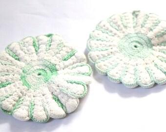 Vintage 60s Green and White Crochet Pot Holders