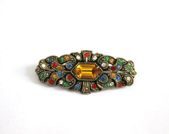 Vintage Rhinestone and Pot Metal Brooch Pin