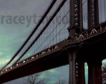 Manhattan Bridge, New York City Print, Blue, Gold, NYC Art, New York Photography, DUMBO