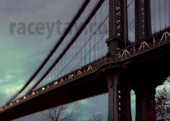 Manhattan Bridge, New York City Print, Blue, Gold, NYC Art, New York Photography, DUMBO