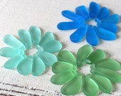 Sea Glass Beads - Jewelry Making Supply - Frosted Glass Beads - Freeform Sea Glass Teardrop Pendant - 10 Beads