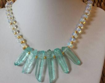 Fancy Aqua Crystals  moonstone gold choker necklace