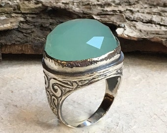 Statement ring, Round silver Ring, sterling silver ring, large stone ring, Jade ring, oxidized silver ring - A dream on our way  R2197-2