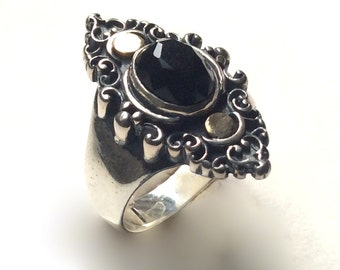 Onyx ring, Stone ring, Gypsy Ring, twotone ring, boho chic jewelry, bohemian jewelry, Tibetan jewelry, unique ring for her - Black sky R2245
