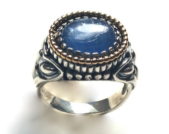 Blue kynite ring, two tones ring, Boho chic jewelry, boho ring, silver gold ring, bohemian jewelry, filigree ring - The Storm - R2244