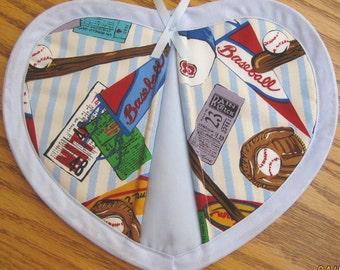 Baseball on Light Blue Stripes - Set of 2