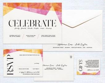 Printed Wedding Invitation Set – Celebration – Australia