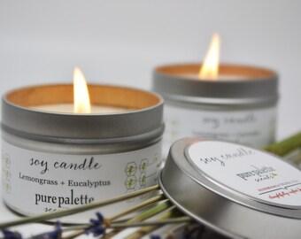 Lemongrass Eucalyptus Essential Oil Soy Candle in 4 Oz. Travel Tin