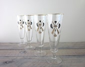Rare Curling Gold and Black Footed Pilsner Cocktail Glasses Set of 4 Barware