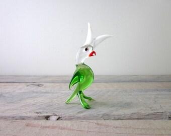Vintage Hand Blown Glass Murano Style Figurine Cockateil