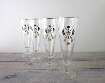 Rare Curling Gold and Black Footed Pilsner Cocktail Glasses Set of 4 Barware