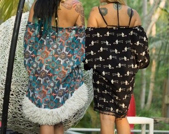 Chiffon Retro Geometrical Kimono Robe