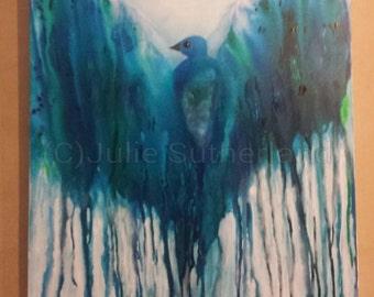 Original Colourful Bird Painting by Artist Julie Sutherland