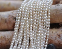 White Oval Freshwater Pearl Seed Beads, 3mm by 3.8mm Rice Pearl- (PL02-9)/ full strand