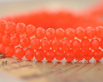 Faceted Rondelle Crystal Glass beads Orange Red 3x4mm-(BZ04-74) / 140Pcs