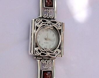 NEW Handmade Fine 925 sterling Silver Filigree Garnet Bracelet Watch, 925 silver Watch, Silver Garnet Bracelet, Israel Jewelry (s w3905)